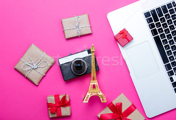 beautiful eiffel tower shaped toy, cute gifts, camera and cool l Stock photo © Massonforstock