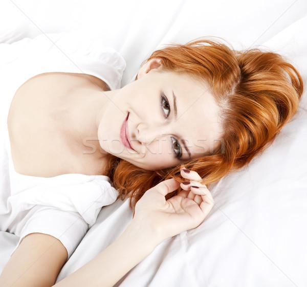 Mooie slapen vrouw witte meisje kamer Stockfoto © Massonforstock