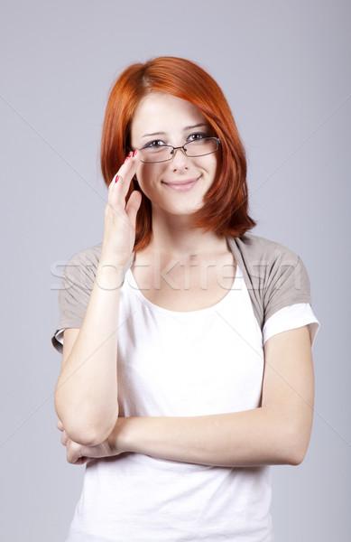 Jeunes colère affaires blanche verres bureau Photo stock © Massonforstock