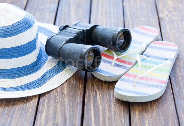 Kalap papucs fa asztal otthon háttér cipők Stock fotó © Massonforstock