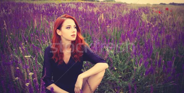 少女 ラベンダー畑 肖像 美しい 赤毛 側面図 ストックフォト © Massonforstock