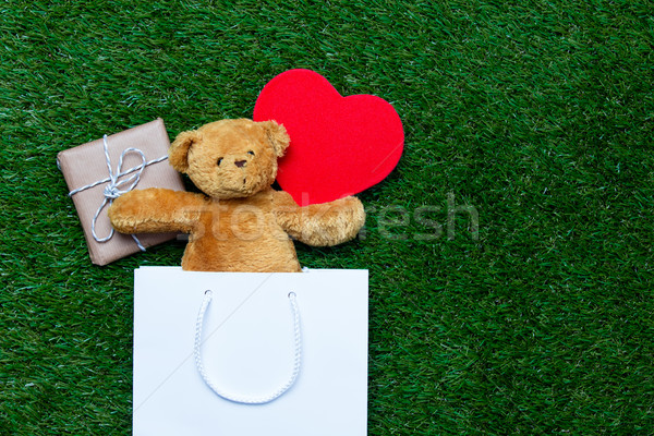 shopping bag, toy, teddy bear and gift Stock photo © Massonforstock