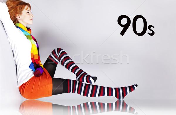 Lány 90-es évek szín stílus szám buli Stock fotó © Massonforstock