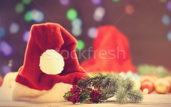 Santas hat and pine branch  Stock photo © Massonforstock