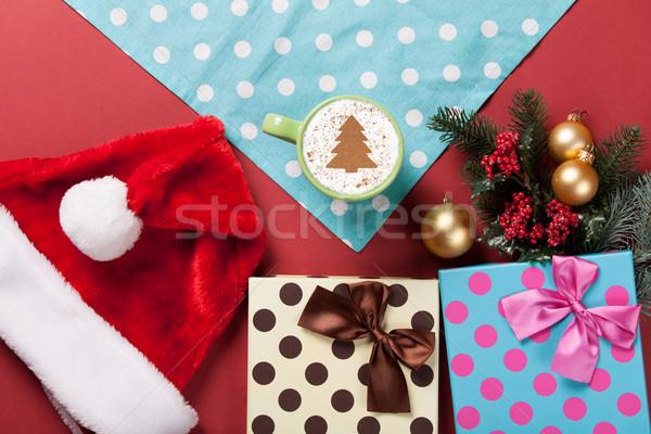 Cappucchino ajándékok csésze karácsonyfa forma piros Stock fotó © Massonforstock