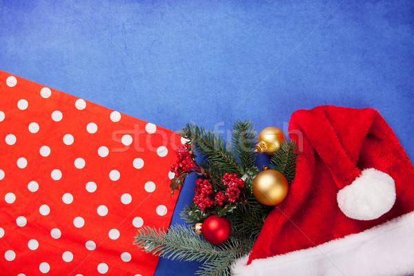 Karácsony ajándékok szalvéta fából készült fa kék Stock fotó © Massonforstock