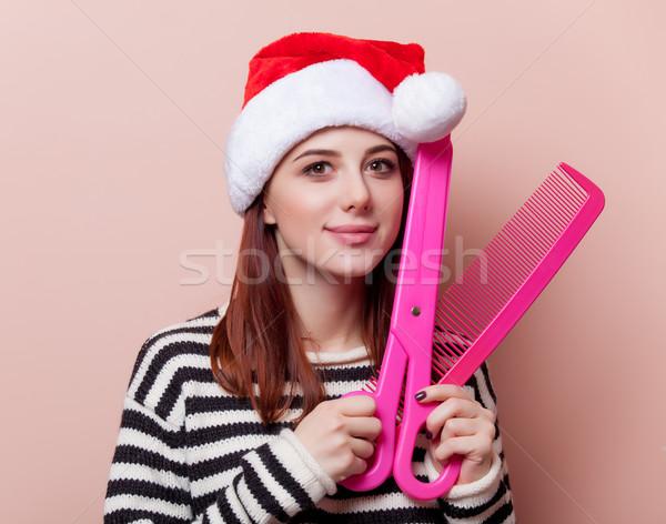 Vrouw grappig schaar portret jonge Stockfoto © Massonforstock