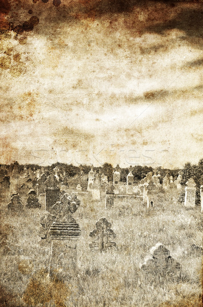 Cemetery in village of 19th century. Photo in old image style.  Stock photo © Massonforstock