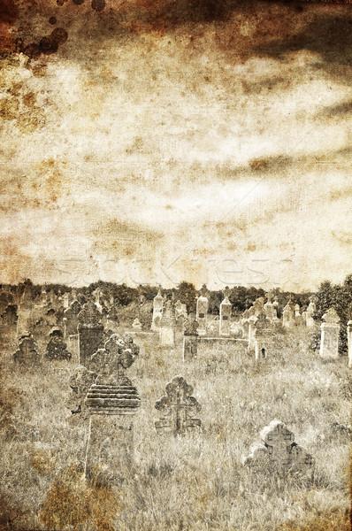 Mezarlık köy fotoğraf eski görüntü stil Stok fotoğraf © Massonforstock