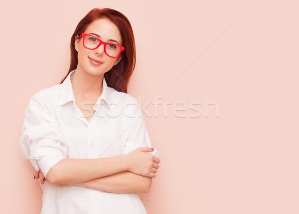 女性 ピンク 肖像 成功 赤毛 ファッション ストックフォト © Massonforstock
