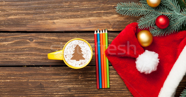 cappuccino with baubles and pencils  Stock photo © Massonforstock