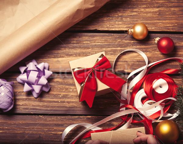 Christmas gift-ready for packaging Stock photo © Massonforstock