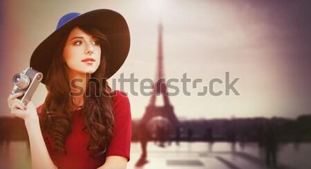 Stylu dziewczyna hat perfum Zdjęcia stock © Massonforstock