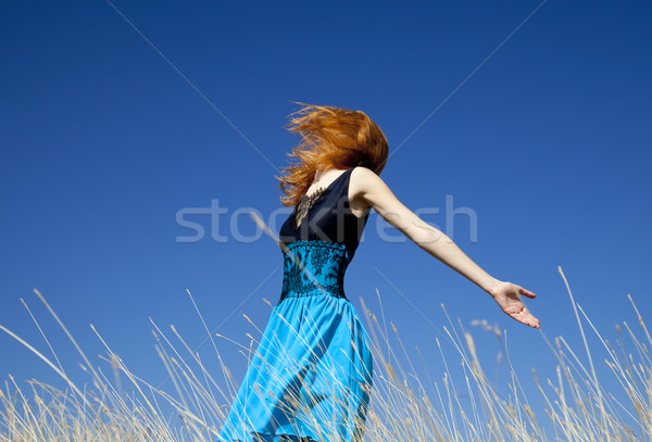 赤毛 少女 風の強い フィールド 女性 自然 ストックフォト © Massonforstock