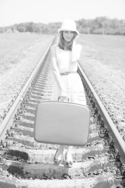 ストックフォト: 小さな · ファッション · 少女 · スーツケース · 写真