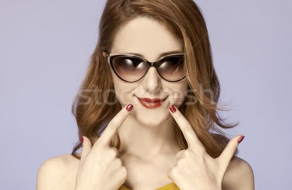 アメリカン 赤毛 少女 サングラス 写真 60年代 ストックフォト © Massonforstock