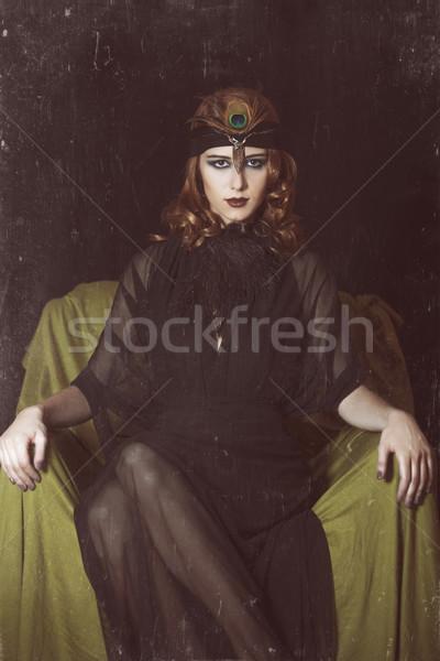 Meisje 20s stijl gezicht mode Stockfoto © Massonforstock