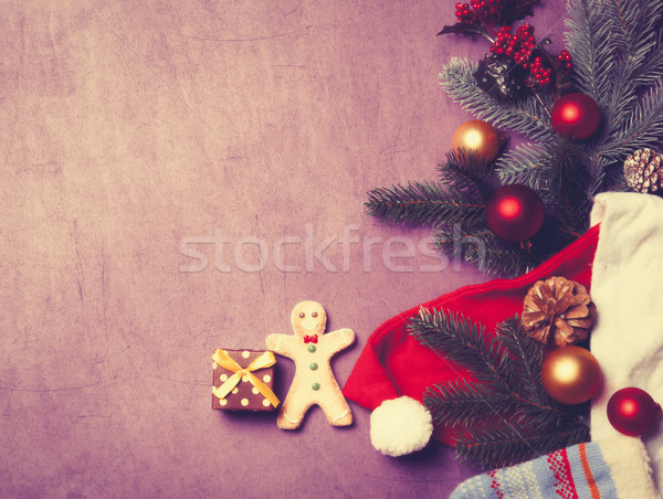 Christmas gift and gingerbread man  Stock photo © Massonforstock