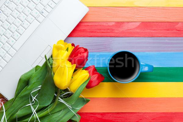 Beker koffie tulpen notebook veelkleurig business Stockfoto © Massonforstock