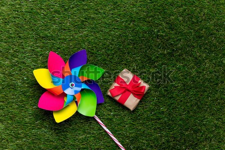 pinwheel toy and lollipop candy on green grass background, Stock photo © Massonforstock