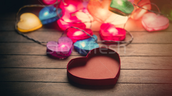 beautiful colorful heart shaped garland and opened heart shaped  Stock photo © Massonforstock