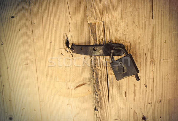 Photo belle vieux lock bois porte Photo stock © Massonforstock