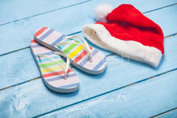 Foto colorido sandálias papai noel maravilhoso azul Foto stock © Massonforstock