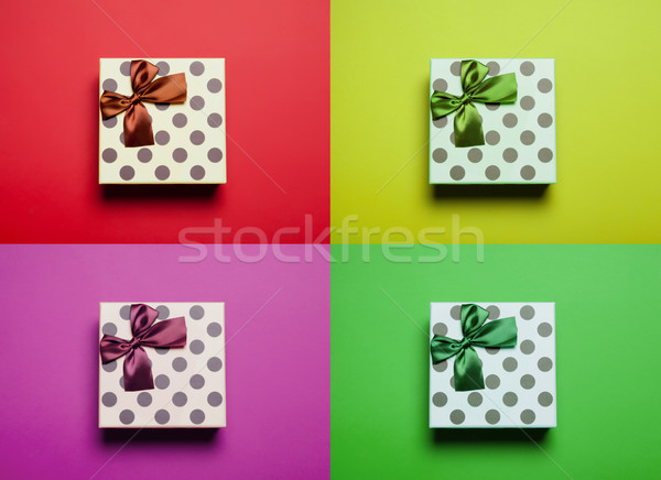 photo of cute gift on the colorful background in pop art style  Stock photo © Massonforstock