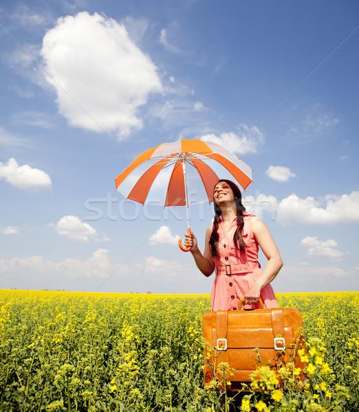 Stock fotó: Barna · hajú · esernyő · bőrönd · tavasz · felhők · természet