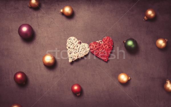 Forme de coeur jouet rétro vintage présents Noël Photo stock © Massonforstock