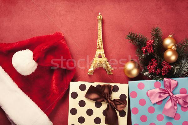 Eyfel Kulesi oyuncak Noel hediyeler kırmızı renk Stok fotoğraf © Massonforstock