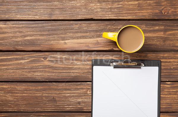 Copo café negócio comprimido papel mesa de madeira Foto stock © Massonforstock