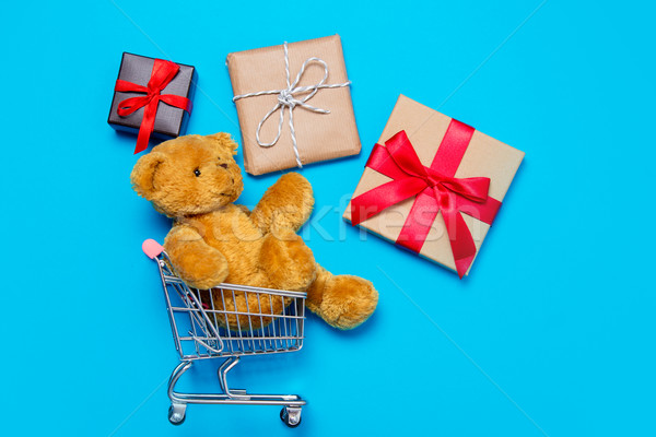 gifts and teddy bear in cart Stock photo © Massonforstock
