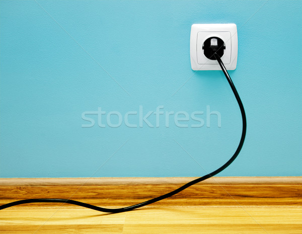 électrique câble socket maison coup ordinateur Photo stock © Massonforstock
