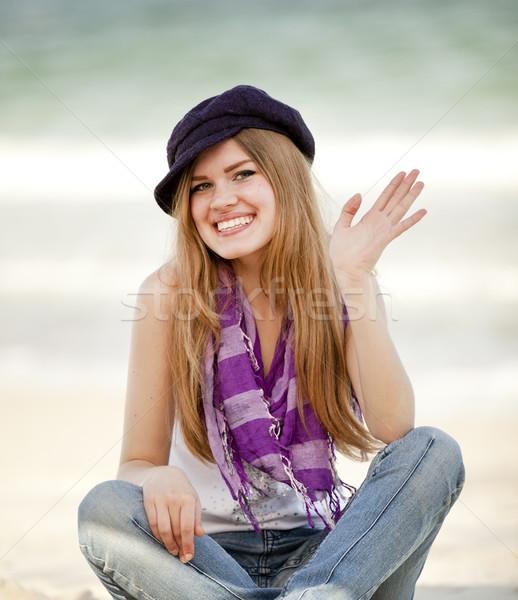 Funny teen girl near the sea. Stock photo © Massonforstock