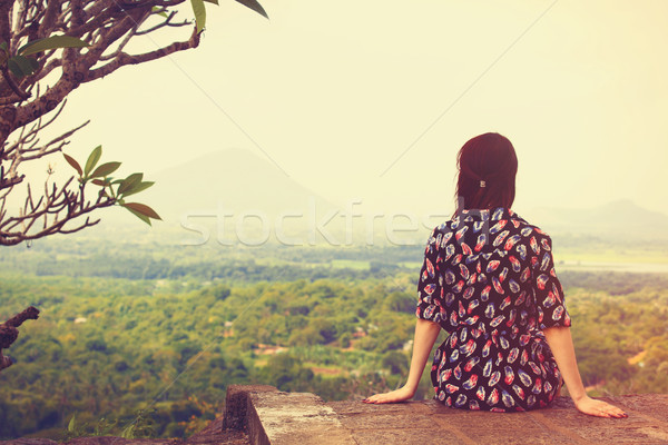 Woman looking on the landscape  Stock photo © Massonforstock