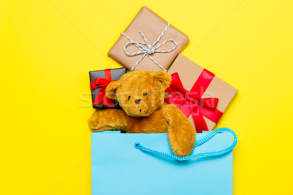 gifts and teddy bear in bag Stock photo © Massonforstock
