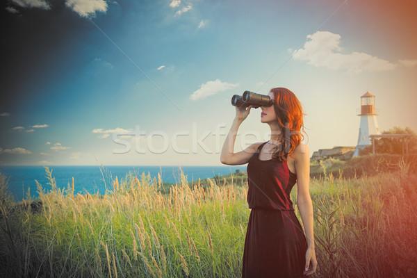 Сток-фото: красивой · бинокль · замечательный · морем · Маяк