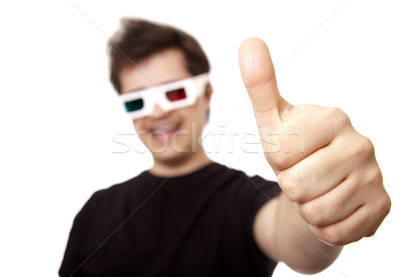 Men in stereo glasses show OK symbol. Stock photo © Massonforstock