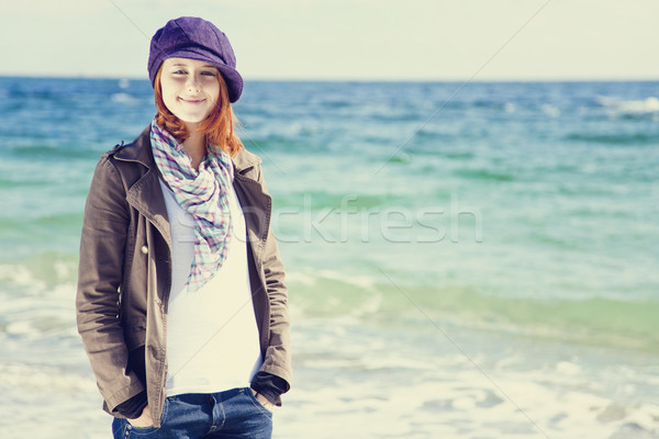 Fashion young women at the beach in sunny day. Stock fotó © Massonforstock