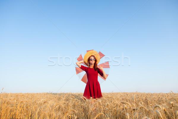 Сток-фото: девушки · красное · платье · зонтик · Hat · лет