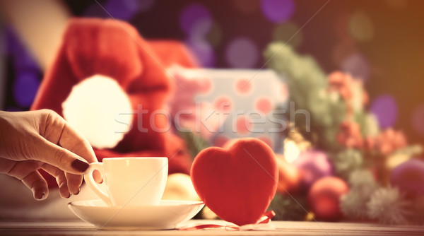 cup near a heart shape toy  Stock photo © Massonforstock