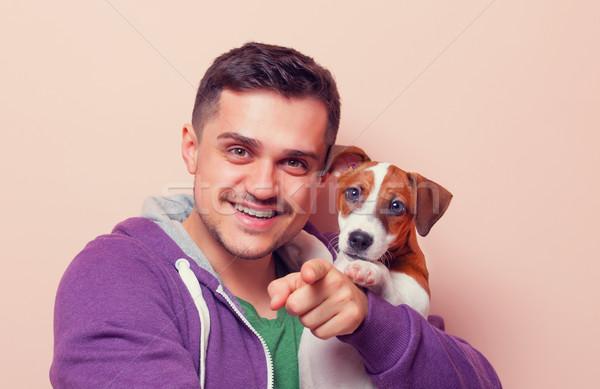 男 子犬 肖像 若い男 ジャックラッセルテリア ピンク ストックフォト © Massonforstock