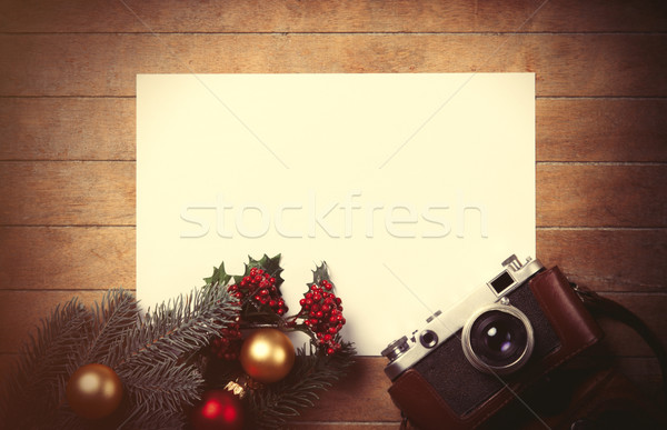 christmas toys with fir-tree branch and camera  Stock photo © Massonforstock