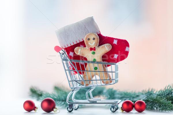 Navidad cookie calcetín cesta de la compra pino rama Foto stock © Massonforstock