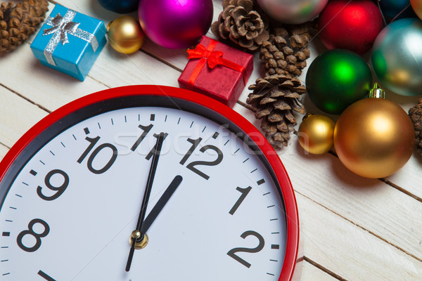 red clock and beautiful christmas decorations on the wonderful w Stock photo © Massonforstock