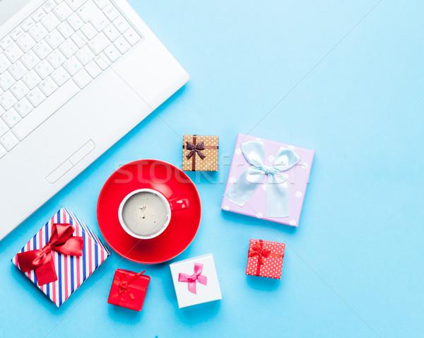 Bonitinho presentes laptop copo café maravilhoso Foto stock © Massonforstock
