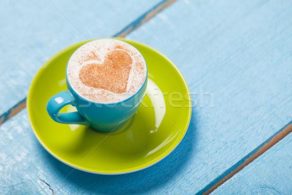 Fotó gyönyörű kék csésze kávé csodálatos Stock fotó © Massonforstock
