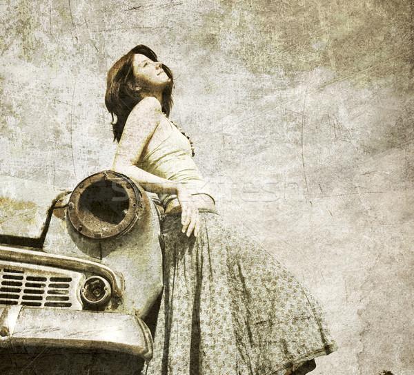Girl near retro car. Stock photo © Massonforstock