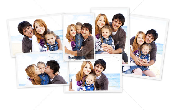 Stock photo: Collage photos of family at the beach.